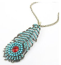 New jewelry Fashion Peacock feather long Pendant sweater Chain Necklace N199