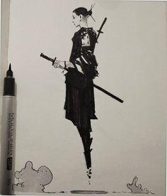 "rhubarbes: "" ArtStation - Inktober by Alexander J More sketches here. Ink Illustrations, Illustration Art, Art Sketches, Art Drawings, Wie Zeichnet Man Manga, Creation Art, Samurai Art, Samurai Warrior, Female Samurai"