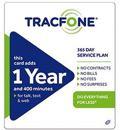 Tracfone 1 Year of Service and 400 Minutes, 2016 Amazon Top Rated SIM Cards & Prepaid Minutes  #Wireless