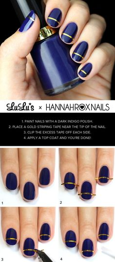 Indigo blue and gold striped nail art tutorial.
