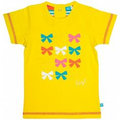 Geel meisjes T-shirt bezaaid met strikjes, lief! lifestyle | Yellow shirt for girls, decorated with bows, lief! lifestyle | zomer 2014