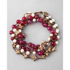 """Love Heals Agate & Pearl Wrap Bracelet, 42""""L ($300) ❤ liked on Polyvore"""