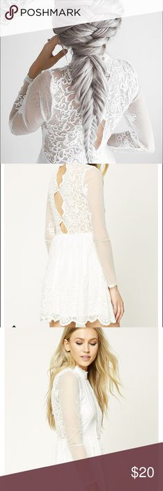 Forever 21 floral white laced mini dress ❤️ NWT - size small.. only worn to model :) Forever 21 Dresses Mini