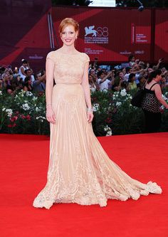 Jessica Chastain (my favorite new actress) in Elie Saab Couture at Venice Film Festival.  She can play any role with depth & she's like a Chameleon.  There's definitely more than meets the eye.