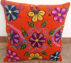 Peruvian embroidered Pillow cover handmade cushion by khuskuy