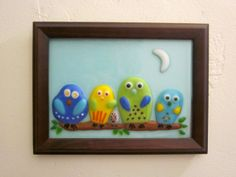 Items similar to Owls Family Sitting on a Branch Fused Glass Framed on Etsy Fused Glass, Stained Glass, Fusion Art, Owl Family, Mosaic Crafts, Glass Birds, Rock Crafts, Deco, Plexus Products