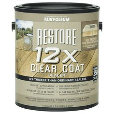 An innovative, new solid clear sealer that is 12X thicker than ordinary sealers. Forming a thick film coating on the surface of the wood, the Restore 12X Clear Coat Sealer lasts longer than traditional sealers that penetrate into the wood. Superior UV inhibitors protect the wood from graying, while superior water repellency, as well as, an algae and mildew resistant coating protect the wood from the damaging outdoor elements.
