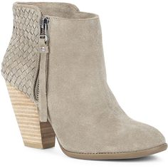 Sole Society Zada Woven Ankle Bootie found on Polyvore featuring shoes, boots, ankle booties, ankle boots, fennel, suede high heel boots, short boots, suede ankle bootie, suede ankle boots and stacked heel booties