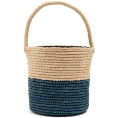 Sensi Studio Bi-colour toquilla-straw basket bag (€170) ❤ liked on Polyvore featuring bags, handbags, tote bags and cream navy