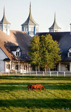 MY dream home, a Horse Ranch.Green grass with acres and acres of land! Dream Stables, Dream Barn, Horse Stables, Horse Barns, Old Barns, My Dream Home, Town And Country, Country Life, Country Barns