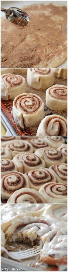 How To Make The Perfect Cinnamon Rolls by Picky Palate! https://www.picky-palate.com #cinnamonrolls #baking #fall
