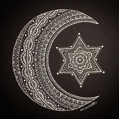 White ink on black card. Star and moon mandala. Cards available soon.