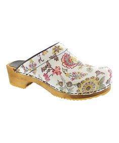 f3e5ed93c33c Look at this White Floral Wood  amp  Leather Clog - Women on  zulily today