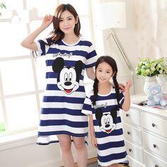 2017 new mother daughter dresses matching mother daughter clothes pajamas family look cartoon mickey girls pyjamas kids