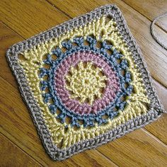 Ravelry: Circle Sunburst Wheel afghan square -  free crochet granny square pattern
