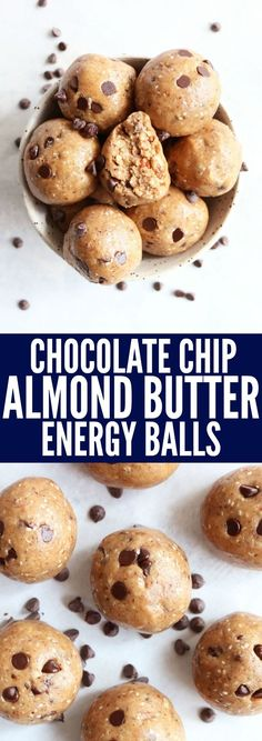 These Chocolate Chip Almond Butter Energy Balls are a perfect afternoon pick me up! They're packed with protein   healthy fats for a fun, nutritious snack! thetoastedpinenut.com #glutenfree #paleo #snack #vegan #dairyfree