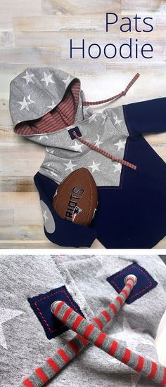 """Ein kleiner New England Patriots """"Pats"""" FAN HOODIE » selbst genäht nach dem Schnittmuster Mini Melian » mit Kapuze, Patches & Jersey Kordeln » Genäht von RITTERKIND"""