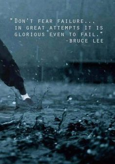 Don't fear failure…In great attempts it is glorious even to fail.