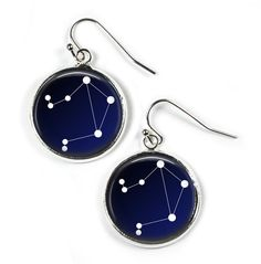 LIBRA Constellation Sky Stars Zodiac - Glass Picture Earrings - Silver Plated (Art Print Photo) by RosettaLondon on Etsy