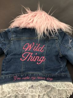 Jean Jacket    Removable Fur Collar   Lace and Denim    Baby Girl Jacket     Wild Thing