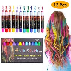 EZCO 12 Color Temporary Hair Chalk Pens Crayon Salon Washable Hair Color Dye Face Kit Safe for Makeup Birthday Party Christmas Gift for Girls Kids Teen Adult makeup temporary hair color Hair Chalk, Hair Wax, Makeup Kit, Party Makeup, Christmas Gifts For Girls, Gifts For Kids, Washable Hair Color, Color Del Pelo, Temporary Hair Color