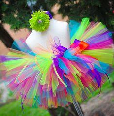 Tropical Birthday Tutu Set for newborn baby infant toddler girls - including sewn tutu and headband on Etsy, $25.00