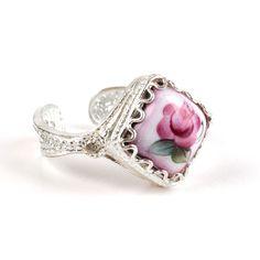 Fabulous Finift from Rostov city- Russian Rose Finift Ring