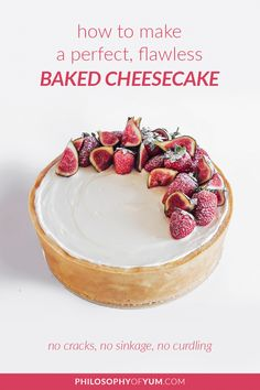 The Ultimate Guide to PERFECT Baked Cheesecake gives you ALL the help you need to bake perfect cheesecake at home. We discuss all the causes and prevention of cracking, sinking, under-baking, over-baking etc. After reading this post you should have NO fear to make your own perfect baked cheesecake. #cheesecake #bakingtips #bakedcheesecake #cheesecakerecipe