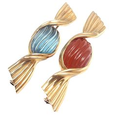 BULGARI Blue Topaz Carnelian Pair of Brooches in Yellow Gold | From a unique collection of vintage brooches at http://www.1stdibs.com/jewelry/brooches/brooches/