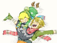Toon Link and Link in the snow via pixiv