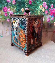 Set with cats house decor cats box painting wooden cat box cat wall decor cats lovers girl gift jewelry storage christmas fantasy fairy cats Small House Furniture, Shelf Furniture, Funky Furniture, Furniture Ideas, Repurposed Furniture, Whimsical Painted Furniture, Painting Wooden Furniture, Turquoise Furniture, Paint Storage