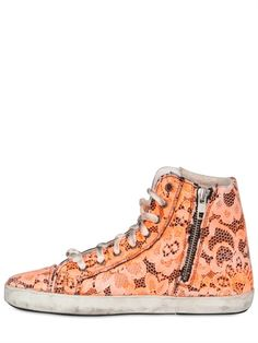 MANCAPANE - SILK & LACE FLORAL HIGH TOP SNEAKERS - LUISAVIAROMA - LUXURY SHOPPING WORLDWIDE SHIPPING - FLORENCE