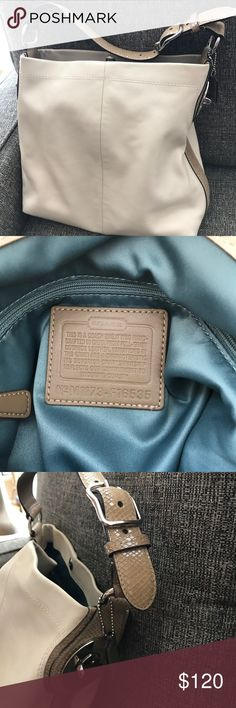 Coach leather bag Leather bag in cream with silk lining in teal; VERY clean and in excellent condition Coach Bags Shoulder Bags