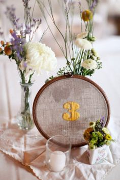 Embroidered wedding table numbers…