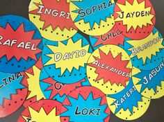 Superhero Themed Name Tag Labels!  Gotta have it for any superhero classroom!                                                                                                                                                                                 More