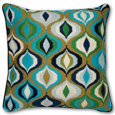 I am going to make a Bargello pomegranate patern similar to this in shades of green... Picture to come of the finished pillow.  Might be months, but I will do it!
