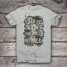 Sex Drugs and Rock n roll t-shirt clothing rock music Rock Music, Rock N Roll, Shirt Outfit, Best Sellers, Drugs, T Shirts For Women, Mens Tops, Etsy, Awesome