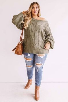 Cocoa Weather Knit Sweater In Olive Outfits Otoño, Girls Fall Outfits, Curvy Girl Outfits, Casual Fall Outfits, Fall Winter Outfits, Fashion Outfits, Stylish Outfits, Olive Outfits, Plus Size Winter Outfits