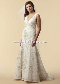 watters dallas, re-embroidered lace and silk satin v neck wedding dress.  I shed a tear when I saw the price tag for this one.