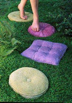 Concrete pillow shape stepping Stones!!!  Love Love Love