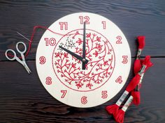 DIY Embroidery Wood Clock Kit by CuriousDoodles on Etsy https://www.etsy.com/listing/121035609/diy-embroidery-wood-clock-kit