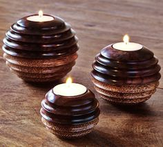 Sono Wood and Coconut Tea Light Balls - carved by artisans in Bali, with natural wood & coconut detail