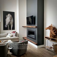 Our rustic fireplace mantels made from salvaged and reclaimed wood beams along with Juniper logs and live edge wood slabs. Modern Fireplace Mantels, Rustic Fireplaces, Home Fireplace, Fireplace Remodel, Living Room With Fireplace, Fireplace Surrounds, Fireplace Design, Mantles, Accent Walls In Living Room