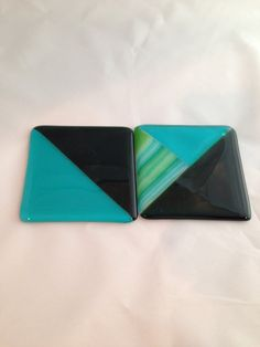 Fun fused glass coasters in $16 in turqoise green and by SassyGlassBySuzy