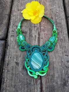 Soutache necklace by MaNiko Bead Embroidery Jewelry, Beaded Embroidery, Soutache Necklace, Crochet Necklace, Beach Crafts, Shibori, Turquoise Necklace, Jewelery, Braids