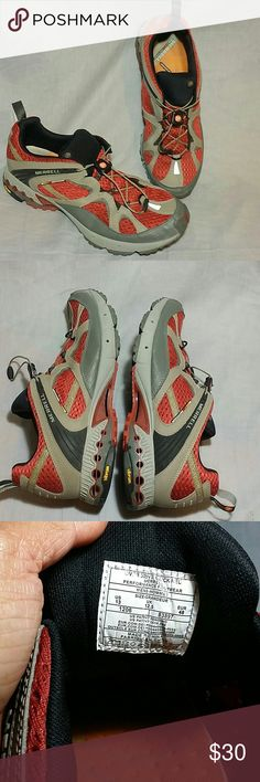 Men's Merrell vibram Shoes Red/Gray 13 M Slip-on Men's Merrell vibram Overdrive Brick Red Shoes Size 13 M Slip-on, Item is in a good condition. Merrell Shoes Athletic Shoes