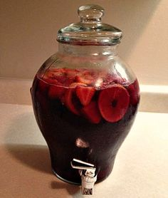 My homemade Sangria wine.       1 gallon Carlos Rossi Sangria wine,  1 cup sugar,  1 liter of Sprite,   4 cups Strawberries,  4 cups Watermelon,  6 Oranges,   4 Lemons, 4 Limes