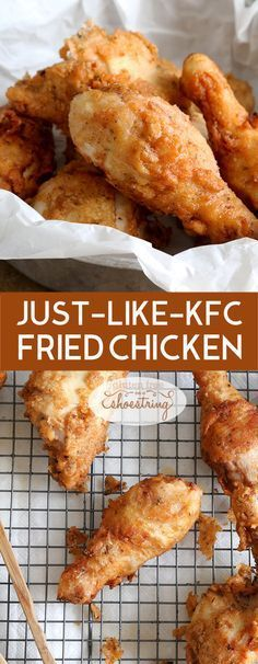 Get this tested recipe for gluten free fried chicken, KFC-Style. Lots of herbs and spices, tender and juicy fried chicken. Perfect!