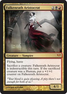 Magic: the Gathering - Falkenrath Aristocrat (138) - Dark Ascension by Wizards of the Coast. $11.49. From the Dark Ascension set.; This is of Mythic Rare rarity.; A single individual card from the Magic: the Gathering (MTG) trading and collectible card game (TCG/CCG).. Magic: the Gathering is a collectible card game created by Richard Garfield. In Magic, you play the role of a planeswalker who fights other planeswalkers for glory, knowledge, and conquest. Your deck of c...