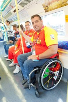 Spanish Paralympic athlete Carlos Soler Marquez travelling on the Jubilee line